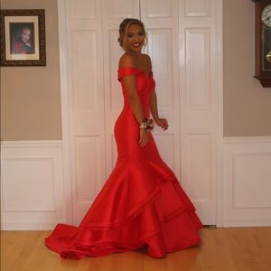 Red Mermaid Off the Shoulder Prom Dress